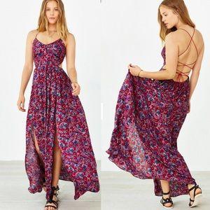 Ecote Floral Strappy Back Safari Maxi Dress M